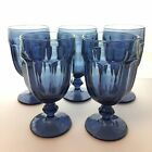 5 Libbey Smoky Blue DuraTuff Large Goblets Water Wine Glasses Vintage Wedding