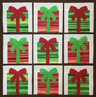 Lot of 9 Christmas fabric gift presents 8 inch applique quilt top blocks