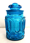 LE Smith Blue Moon  Stars Glass Apothecary Jar Canister with Lid 9 1 4