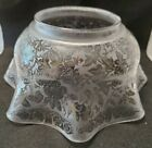 Antique Acid Etched Glass Gas Oil Lamp Shade 4 Fitter Floral Octagonal