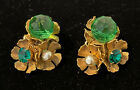 Vintage Miriam Haskell Gripoix Green Melon Glass Bead Clip on Earrings