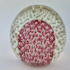 Early 20th Century Art Glass Paperweight Clear  Maroon Controlled Air Bubbles
