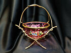 Antique French Royal Palais Enameled Cranberry Glass Bowl in Gold Gilt Caddy