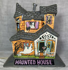 Vtg Belco Lighted Plastic Haunted House Halloween Ghost Dracula Witch Black Cat