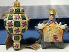LOT OF 2 JIM SHORE CHRISTMAS ORNAMENTS 2004 QUILTED PATTERN NATIVITY SCENE STAR