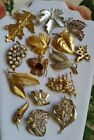 Lot of 16 Vintage Gold and Silver Tone Leaf Themed Brooches BSK Avon Rhinestone