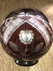 Exquisite AJKA Large Lead Crystal Ruby Red Cut to Clear Rose Bowl Vase
