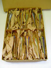 ORIGINAL BOX OF 12 FADEN GLASS UMBRELLA GLASS CANDY CONTAINERS MADE IN GERMANY