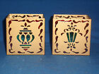 Partylite Stained Glass Christmas Ornament Design Votive Holder Square Set of 2