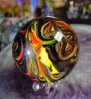 AWESOME ONE 193 NEW GOLD LUTZ FLAME NEW CONTEMPORARY ART GLASS MARBLES