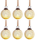 Sass  Belle Gold Crackle Recycled Glass Bauble Round Xmas Tree Decoration x6