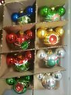 Disney Parks Glass Christmas Ornament Set Mickey Mouse Ears Vintage Inspired