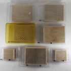 Lot of 7 Stampin Up Rubber Stamps Backgrounds A to Z Dot Linen Plaid Woodgrain