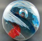 ART GLASS BALL PAPERWEIGHT RED BLUE SWIRLS CLEAR CONTROLLED BUBBLES E20