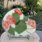Peggy Karr Fused Abstract Oval Shape ART Glass Water Lily Pond Flower EUC