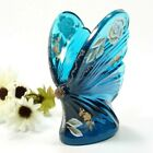 Fenton Teal Glass Butterfly Figurine Hand Painted and Signed