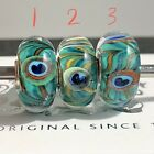 Trollbeads Silver Murano Glass Bead OOAK unique Blue Green Turquoise Peacock 1