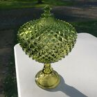 Westmoreland Sawtooth Diamond Pattern Golden Olive Green Glass Compote 14in Rare