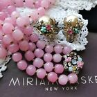 HASKELL 40S 2 PC SUITE Pastel Pink Pts De Verre Art Glass Beads  Mab Pearls