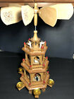 German Christmas 3 Tier Nativity Pyramid 6 Candle Carousel Windmill See details
