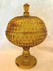 EAPG Antique Pattern LARGE AMBER PRESSED DIAMOND COMPOTE Central Glass 775