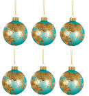 Sass  Belle Globe Earth Shaped Blue Glass Bauble Round Christmas Tree Decor x6