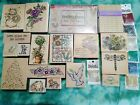 Vintage lot rubber stamps used Penny Black stampendous Hero Arts Holly Berry +