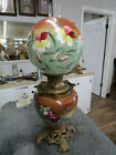 Victorian Antique GONE With The WIND Floral PARLOR OIL LAMP 24 Tall