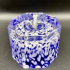 Blue and White Octagon Confetti Bubble Art Glass Oil Candle lamp Paperweight