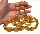 HONEY GOLDEN GLASS BEAD NECKLACE STRING STRAND VINTAGE HAND KNOTTED 40