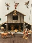 Large Vintage Fontanini Nativity Creche Set 5 Manger Angels  Stands Mary Jo