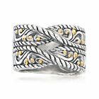 Sterling Silver Bali Style Twisted Ring with 18kt Yellow Gold
