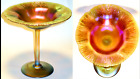 Authentic Louis C Tiffany Golden Favrile Glass Stretched Edge Compote