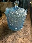 Fenton Glass Iridescent Daisy  Button Covered Candy Jar w Notched Lid