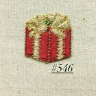 1PC RED GOLD CHRISTMAS PRESENT IRON ON EMBROIDERY PATCH