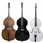 Cecilio Size 3/4 1/2 1/4 Upright Double Bass +Case+Bow Wood, Black or White