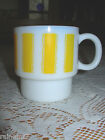 Anchor Hocking Yellow Striped Milk Glass Mug Excellent Con. ~ Fast Free Shipping