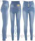 DENIM HIGH WAISTED JEANS Womens SKINNY Jeans Ladies Blue Pants Size 6 8 10 12 14