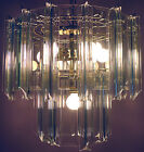 VENINI ERA MID-CENTURY MODERN CHANDELIER LUCITE & TEMPERED GLASS CEILING FIXTURE