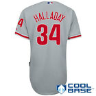 Philadelphia Phillies Roy Halladay SEWN Cool Base Authentic Road Gray Jersey