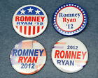 Set of 4 ROMNEY RYAN Campaign 2012 Buttons Pinbacks 2 1 4 inch 225 Election
