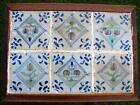 Table with 6 Dutch Delft 17th. Century tiles Tulips and pewit tulips Antique