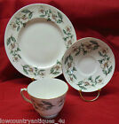 Crown Staffordshire China Pear Blossom Footed Cup Saucer Salad Plate Set England
