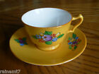 Crown Staffordshire Cup & Saucer~Hand Painted Fruit & Flower Clusters~c1906-1919