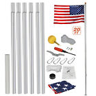 Heavy Duty Aluminum 20 Sectional Flag Pole Kit w 3 x 5 US Flag Gold Ball Kit