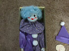 Vintage Blue Brinn Porcelain Female Clown Doll - Wind Up Musical, NIB, Ages 8+