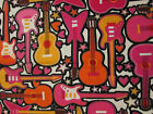 GUITARS COLORFUL ROCKER MUSIC ROCK PINK ORANGE COTTON FABRIC FQ