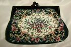 Vintage FLOWER DESIGN NEEDLEPOINT Small CLUTCH PURSE Deep Maroon Top and Clasp