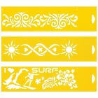 3 Stencils Cake Wall Airbrush Decorating Drawing Template Victorian Sun Summer
