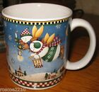 Snow Angel Village Mug- Flying Snowman Angels- Debbie Mumm -Sakura- 1996